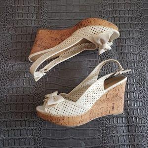 Apt 9 sling back white bow wedge heels